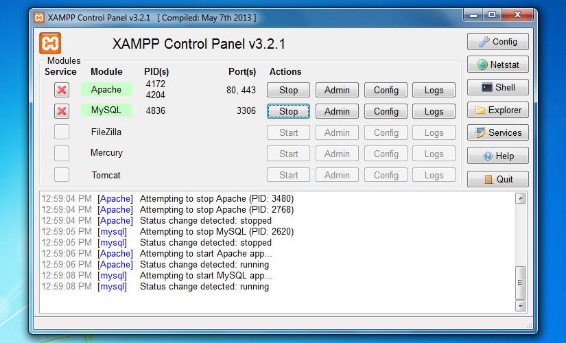 Start Apache and MySQL