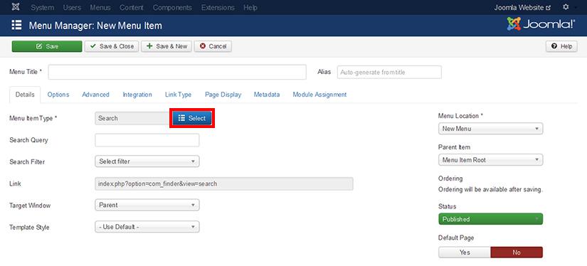 How to add new menu item in Joomla 3.4