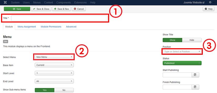 Configuring menu module in Joomla 3.4