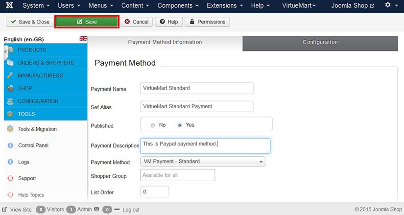 Configure payment gateway in VirtueMart