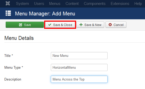 How to create menu in Joomla 3.4