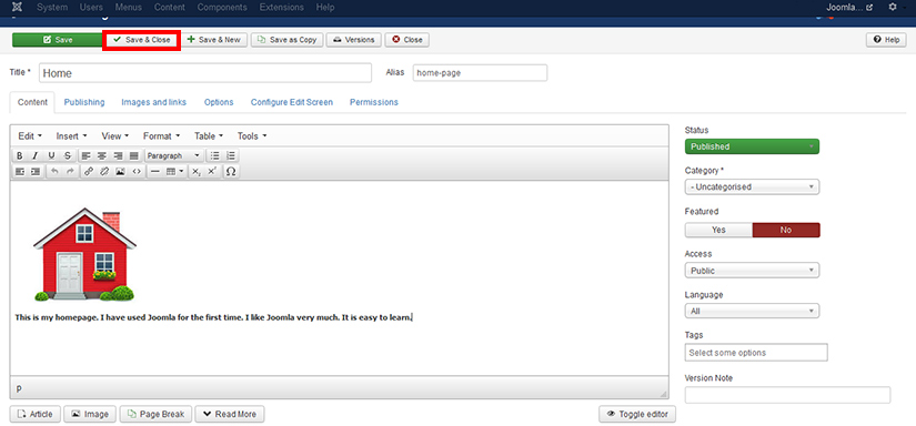 How to create an article in Joomla 3.4