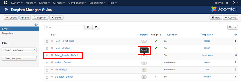 How to activate the template in Joomla 3.4