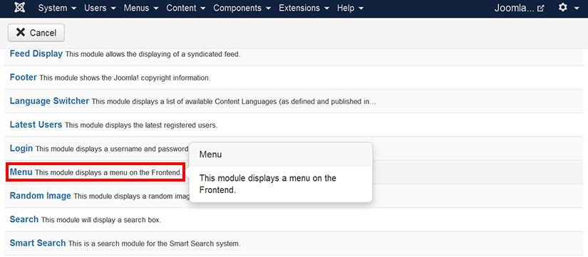 Selecting menu module in Joomla 3.4