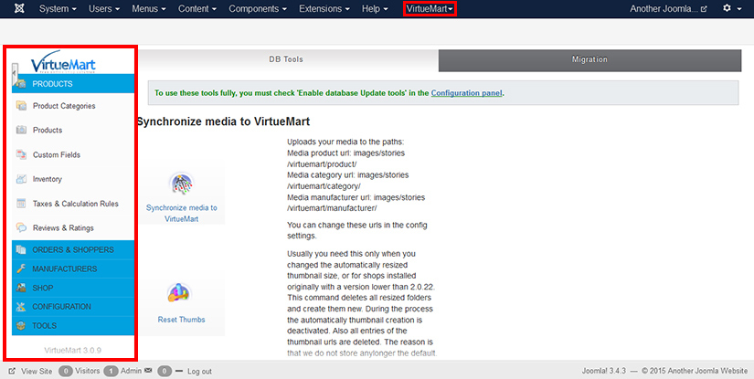 VirtueMart extension added in the admin menu