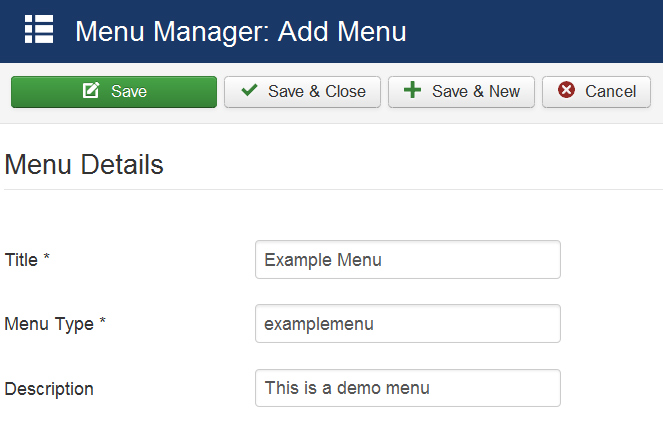 Creating a new menu in Joomla