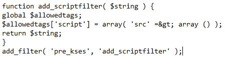 Disable the filtering of Script tags