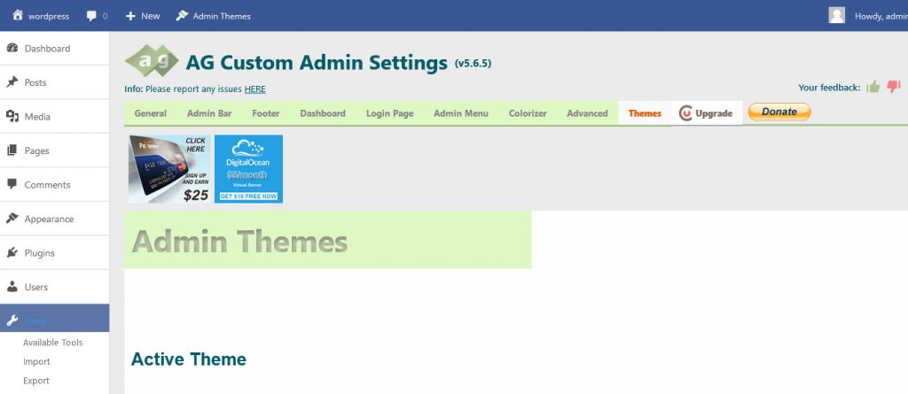 ag custom admin wordpress plugin dashboard