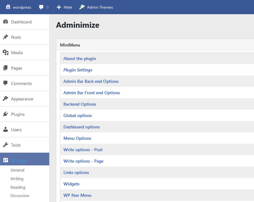 adminimize wordpress plugin dashboard