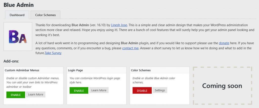 blue admin wordpress plugin dashboard