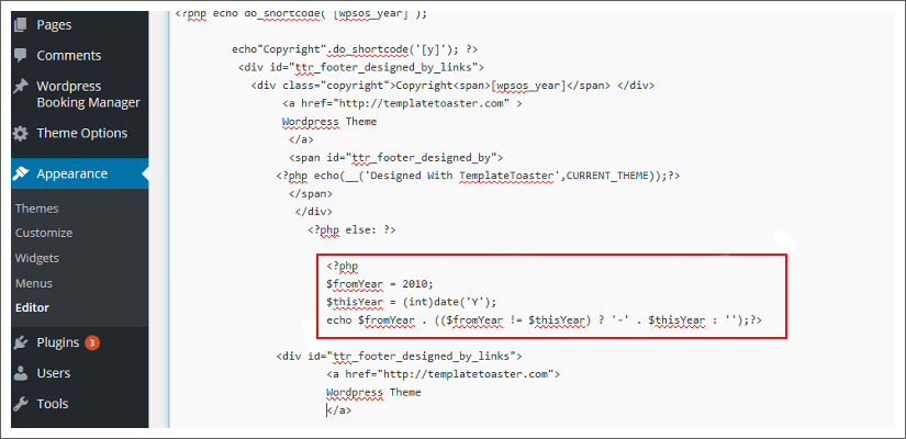 Auto Update Copyright Year html websites