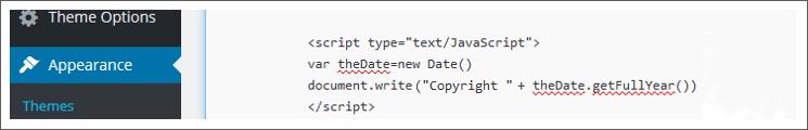 Auto Update Copyright Year javascript