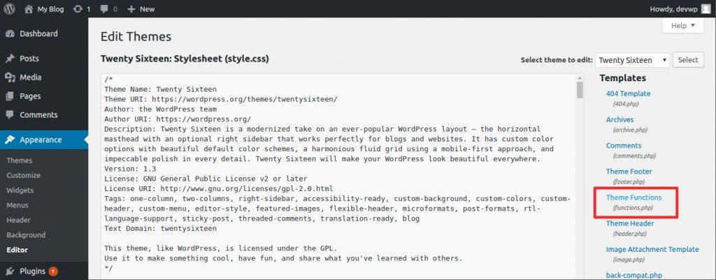wordpress theme editor functions.php wordpress contextual help