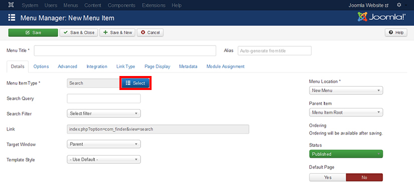How to add new menu item in Joomla 3.4