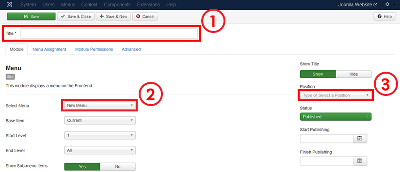 Configuring menu module in Joomla 3.4