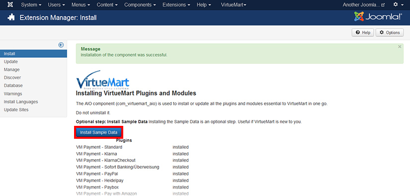 Installing VirtueMart sample data