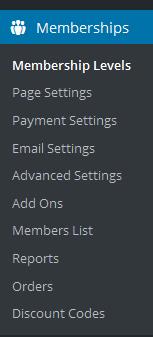 Paid Memberships Pro menu