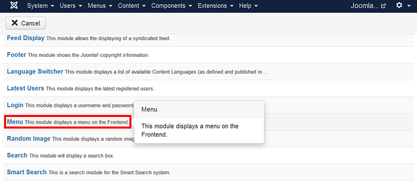 Selecting menu module in Joomla 3.4