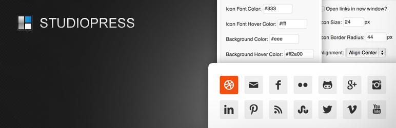 Simple Social Icons banner WordPress Social Media Plugin