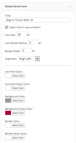 Simple Social Icons widget settings