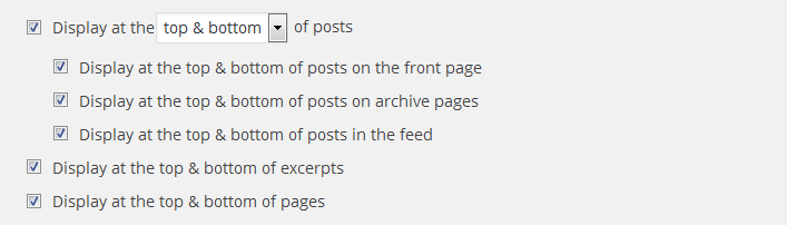 Social media buttons placement options given by Share Buttons by AddToAny