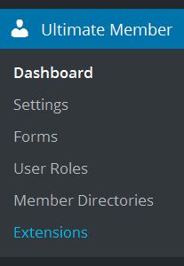Ultimate Member plugin menu
