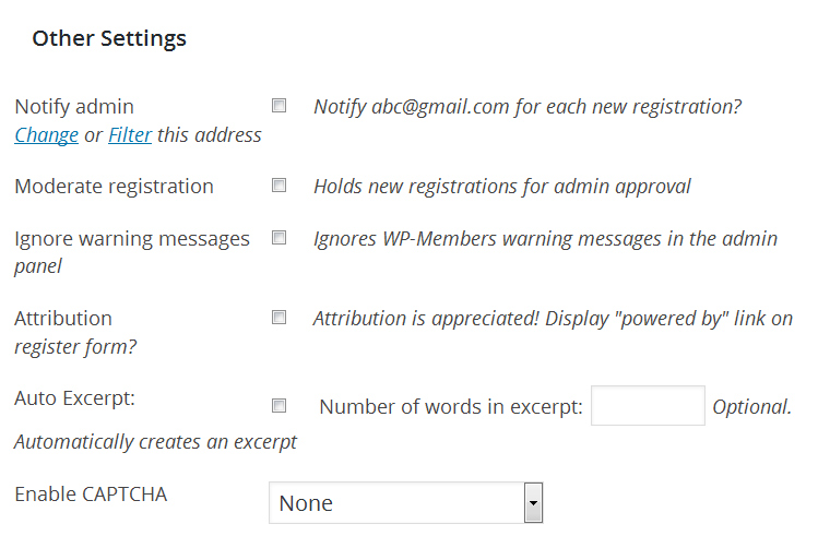 WP Members other settings