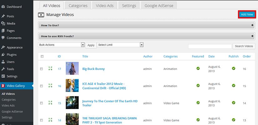 WordPress Video Gallery plugin settings