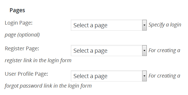 selecting pages with WP Members