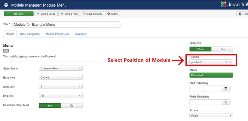 Adding a menu module Joomla