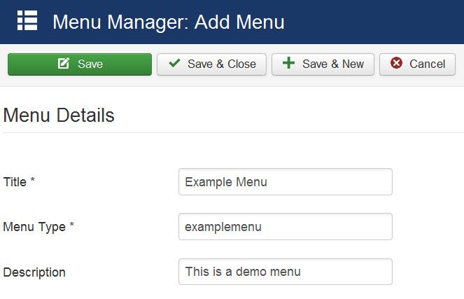 Creating a new menu in Joomla