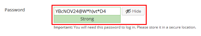 Strong Password Recommendation by WordPress