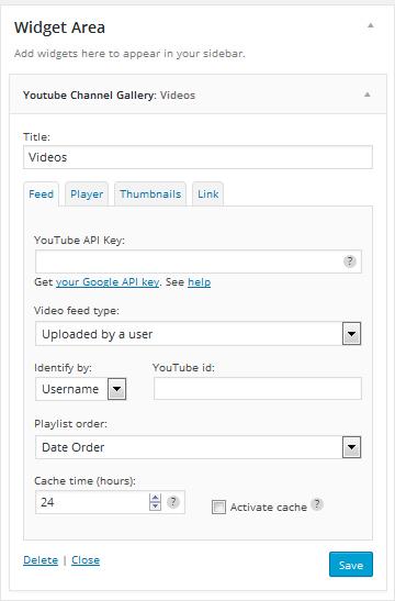 YouTube channel gallery widget