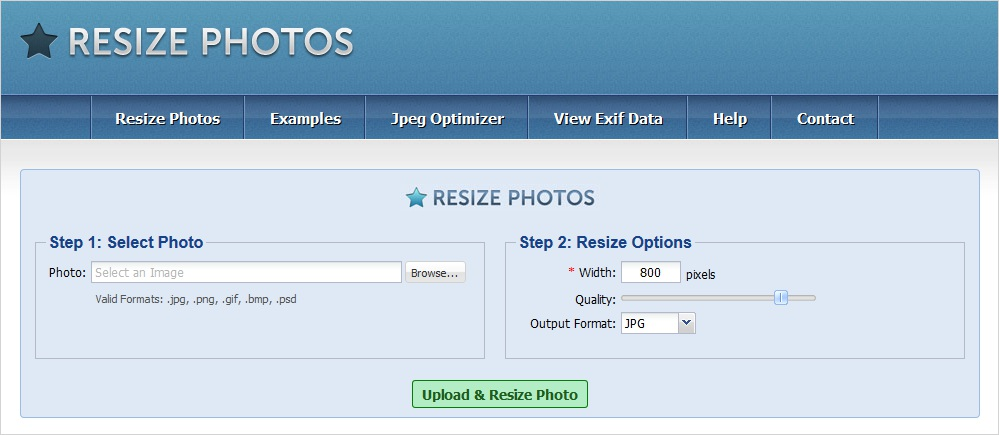 resize photos image compression tool