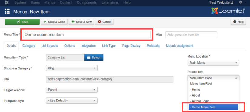 Creating a Submenu Item in Joomla