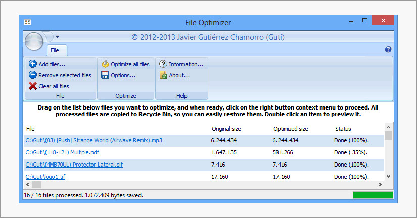 File Optimizer image compressor tool