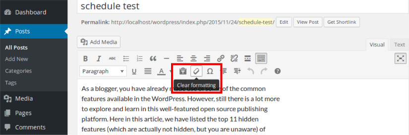 removing format in wordpress