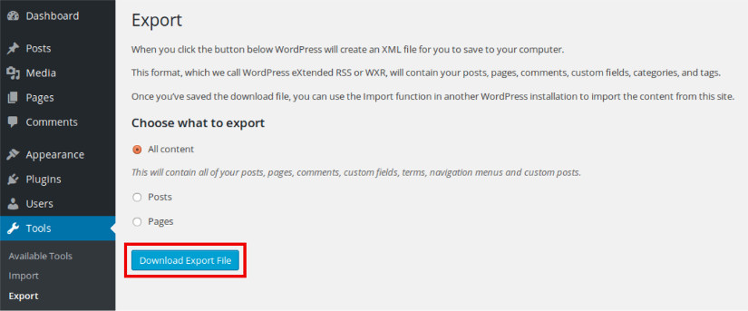 export data in wordpress