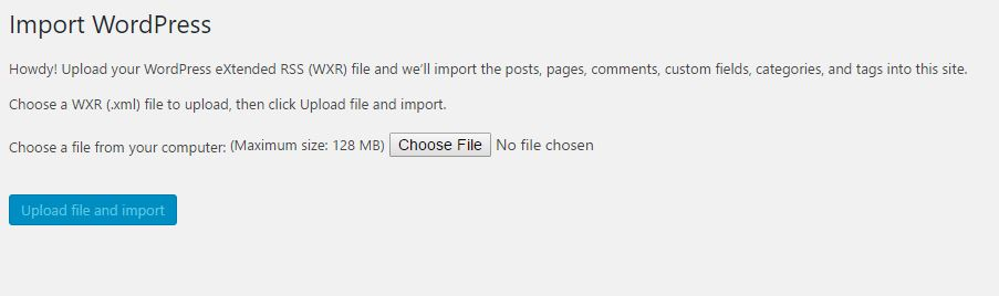 Import a file from one blog to other