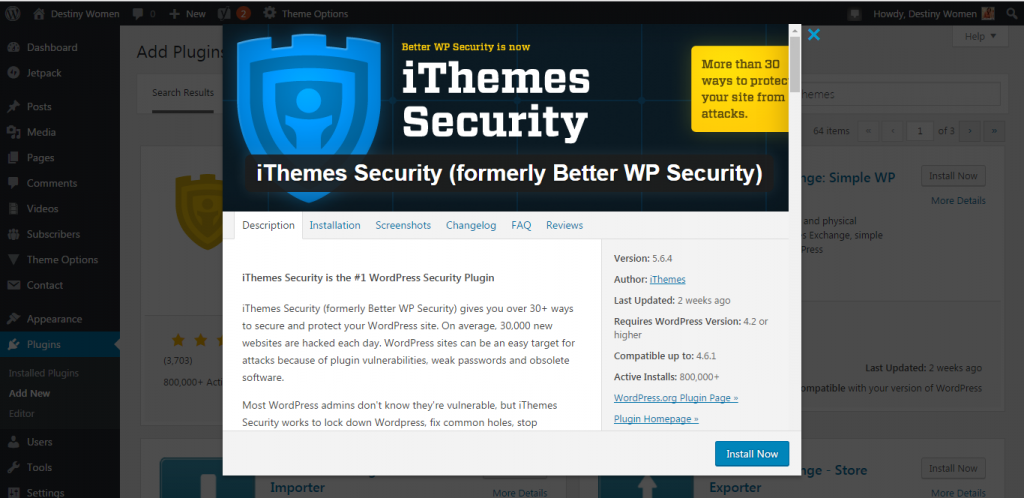 iThemes security WordPress plugin preview