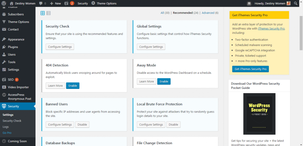 iThemes security WordPress Plugin dashboard