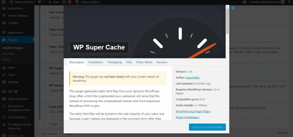 WP Super cache Plugin Preview