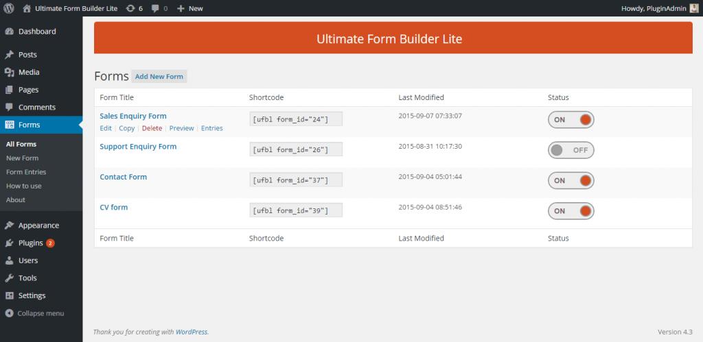 Ultra Form Lite Contact Form WordPress Plugin