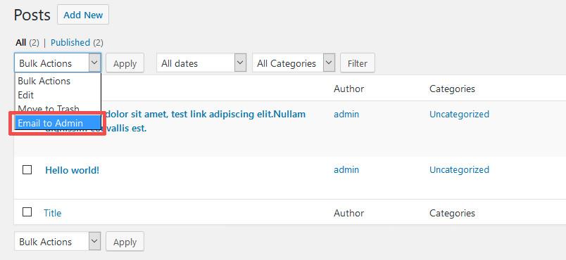 Email to Admin Custom Bulk Action WordPress 4.7