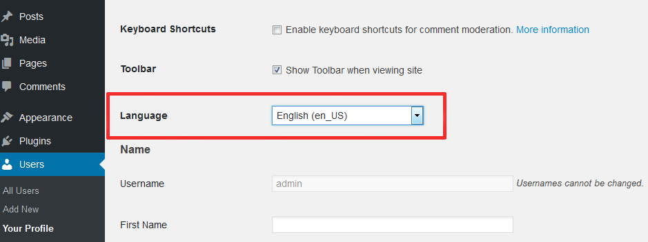 Language Control by Users in WordPress 4.7 Update