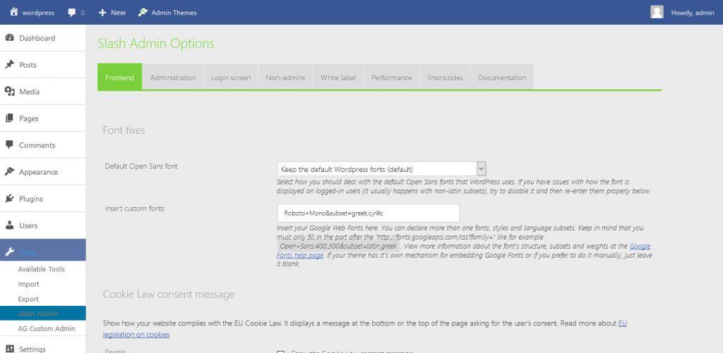 slash admin wordpress plugin dashboard