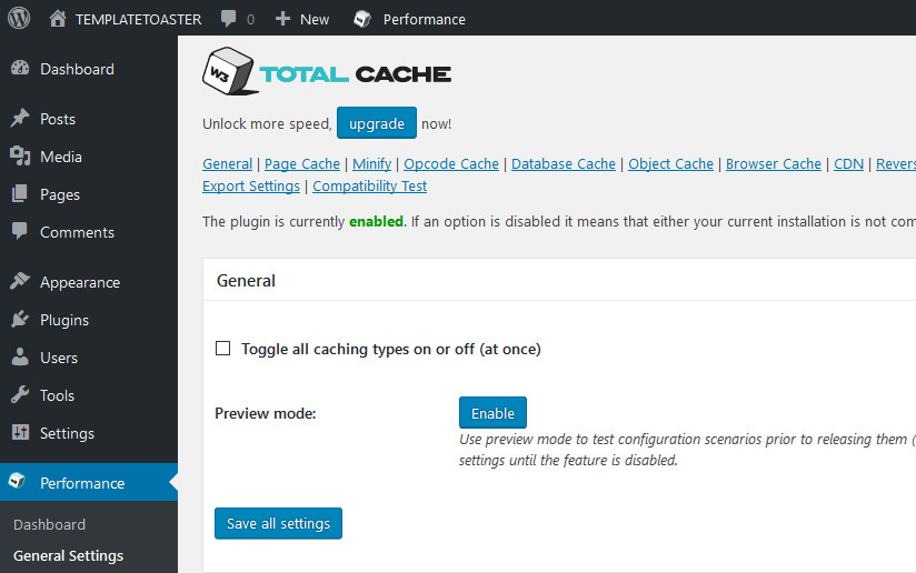W3 Total cache wordpress plugin dashboard
