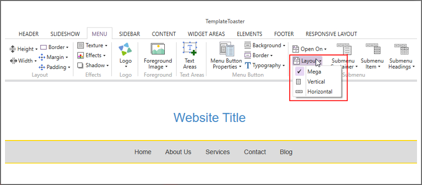 mega menu wordpress templatetoaster screenshot