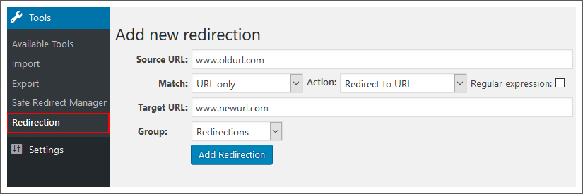 redirection plugin wordpress dashboard