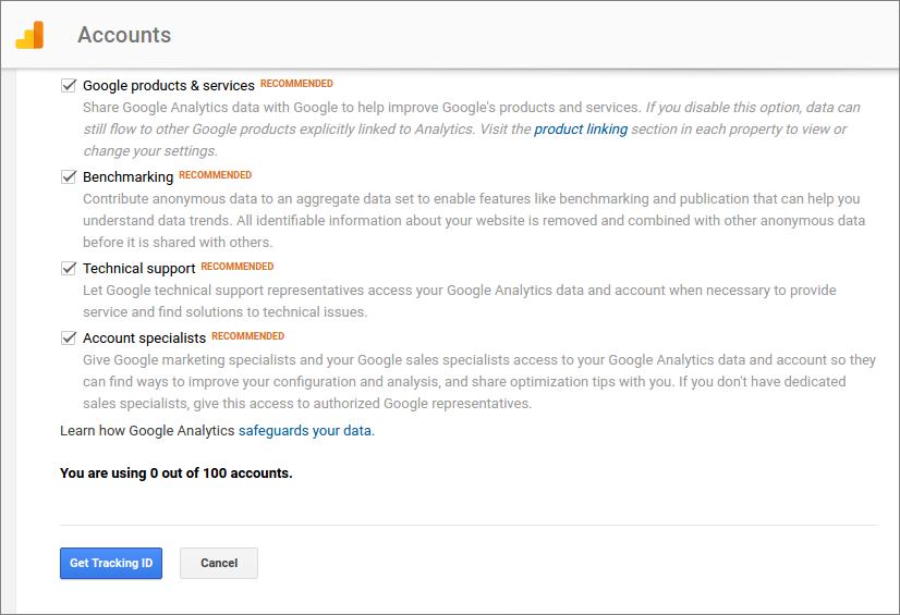 google analytics signup wordpress install